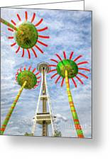 Singing Flowers Under The Space Needle Greeting Card