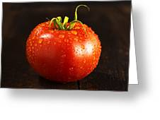 Single Fresh Tomato With Dew Drops Greeting Card