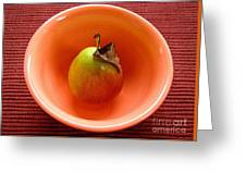 Single Pear In A Bowl Too Greeting Card