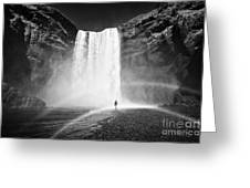 Single Tourist At Skogafoss Waterfall In Iceland Greeting Card