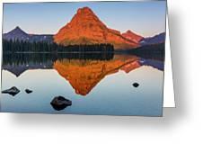 Sinopah Mountain Reflected In Two Medicine Lake At Sunrise Greeting Card