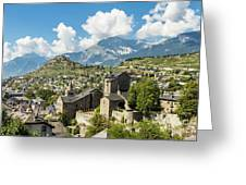 Sion Old Town In Switzerland Greeting Card