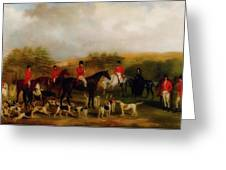 Sir Edmund Antrobus And The Old Surrey Fox Hounds At The Foot Of Greeting Card