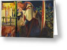 Sir Galahad At The Ruined Chapel Greeting Card