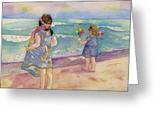 Sisters By The Sea Greeting Card