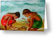 Sisters On The Beach Greeting Card