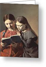 Sisters Reading A Book Greeting Card