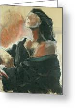 Sitted Woman Greeting Card