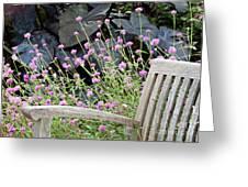 Sitting Amongst A Wildflower Garden Greeting Card