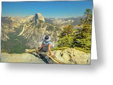 sitting at Glacier Point Greeting Card