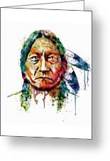 Sitting Bull Watercolor Painting Greeting Card
