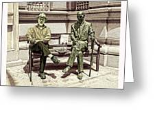 Sitting Next To A Statue Of Jan Karski Legendary Polish Underground Courier    Greeting Card