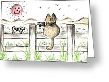 Sitting Watching Cows In The Meadow Greeting Card