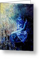 Sitting Young Girl Greeting Card by Pol Ledent
