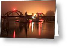 Siuslaw River Bridge At Night Greeting Card