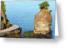 Siwash Rock By Stanley Park Seawall Greeting Card