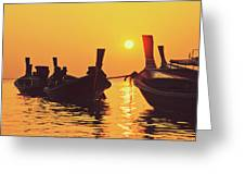 Six Thai Wooden Boats Floating And Glittering In The Lagoon During Golden Sunset Koh  Greeting Card