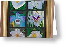 Six White Flowers At Pilgrim Place Photo Assemblage, California, Ca  Greeting Card by Ruth Hager