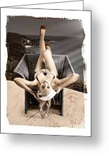 Sixties Classic Pin-up Beauty In Vintage Fashion Greeting Card by Jorgo Photography - Wall Art Gallery