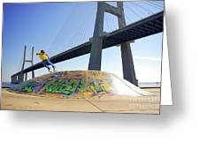 Skate Under Bridge Greeting Card by Carlos Caetano