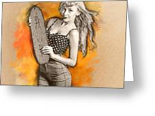 Skateboard Pin-up Illustration Greeting Card