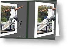 Skateboarder - Gently Cross Your Eyes And Focus On The Middle Image Greeting Card