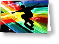 Skateboarder In Criss Cross Lightning Greeting Card by Elaine Plesser