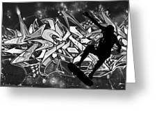 Skateboarder On Graffitti Greeting Card
