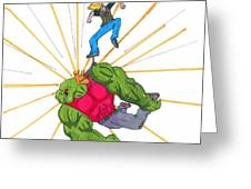 Skater Attack Greeting Card by Rick Lowe