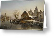 Skaters On The Canal Greeting Card