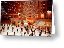 Skating At Rockefeller Plaza Greeting Card