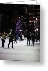 Skating By The Tree Greeting Card