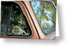 Skeleton Behind The Wheel Of Chevy Truck Greeting Card