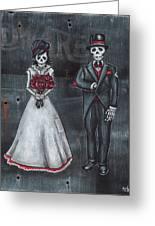 Skeleton Bride And Groom Aka Amor Sencillo Greeting Card