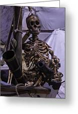 Skeleton With Bow Canon Greeting Card