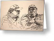 Sketch Men At Tims Greeting Card