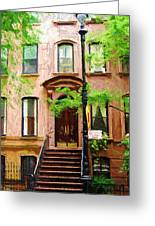 Sketch Of Carrie Bradshaw Greenwich Village Brownstone Greeting Card