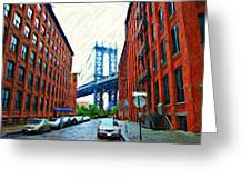 Sketch Of Dumbo Neighborhood In Brooklyn Greeting Card