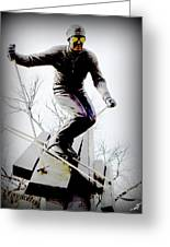Ski On The Edge Greeting Card by Michelle Frizzell-Thompson