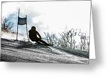 Ski Racer Backlit Greeting Card