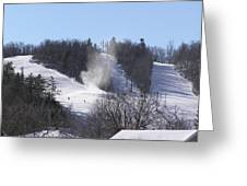 Ski Slope Greeting Card by Richard Mitchell