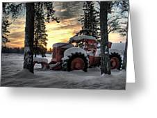 Skidder Sunrise Greeting Card by Heather  Rivet
