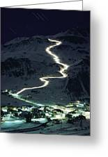 Skiers Bearing Torches Ski Down Mont Greeting Card
