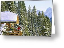 Skiers On Balcony Of Ski Lodge Prepare Greeting Card