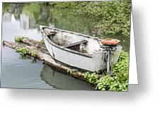 Skiff And Motor Greeting Card