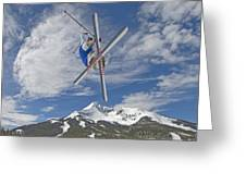Skiing Aerial Maneuvers Off A Jump Greeting Card by Gordon Wiltsie