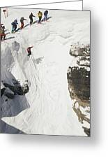 Skilled Skiers Plunge More Than 15 Feet Greeting Card by Raymond Gehman