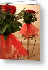Skirted Roses In Mirror Greeting Card