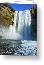 Skogafoss Waterfall Iceland In Winter Greeting Card