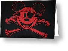 Skull And Bones Mickey In Red Greeting Card